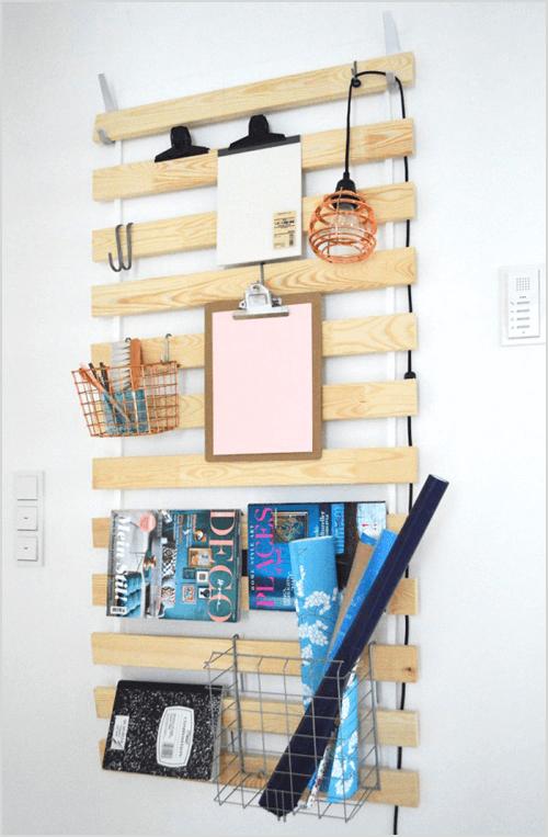 Turn a Bed Slat Into a Wall Hanger via Ich Designer