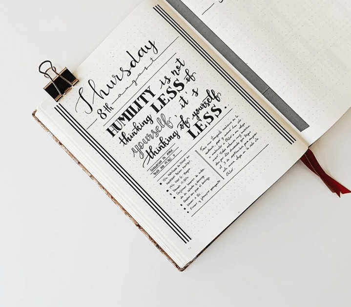 bullet journal quote page