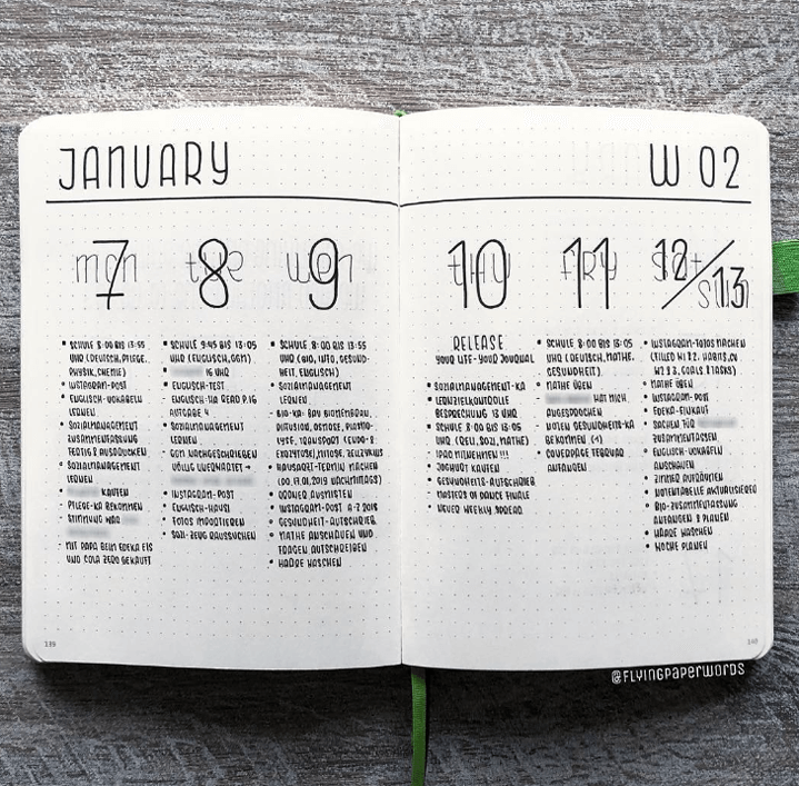 january weekly planner with modern look