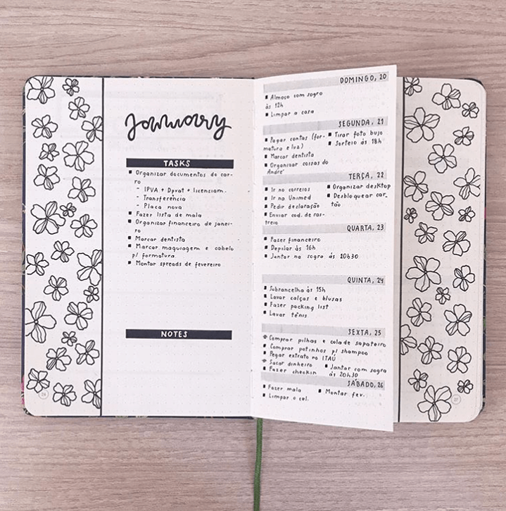 january planner with flowers