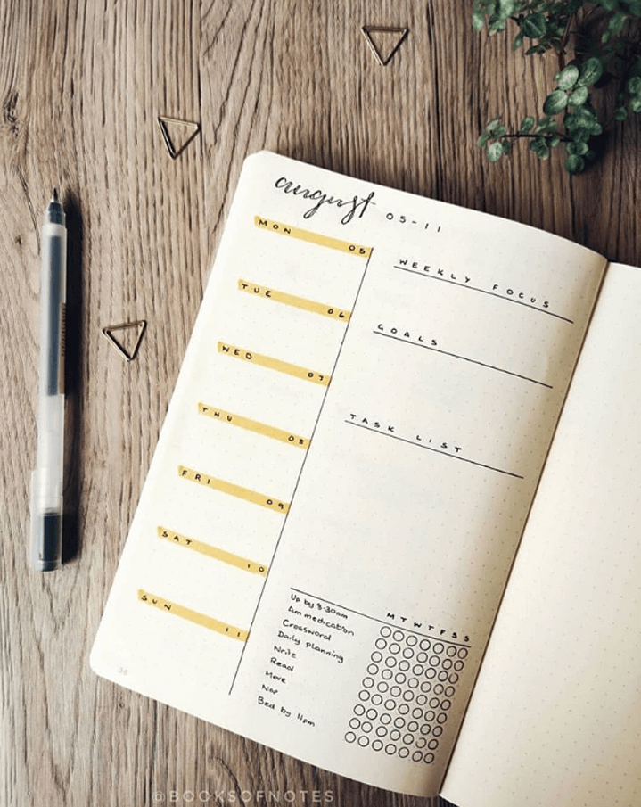 august weekly planner