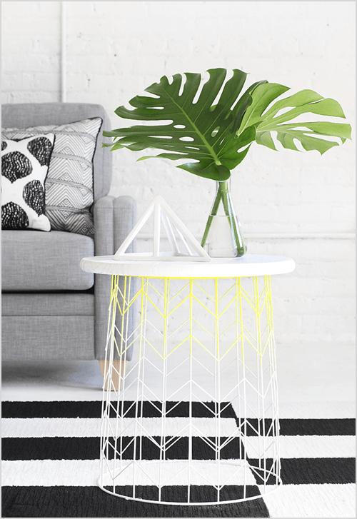Wire Basket Side Table via I Spy DIY
