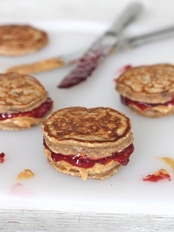 Peanut butter and jelly sandwich pancake