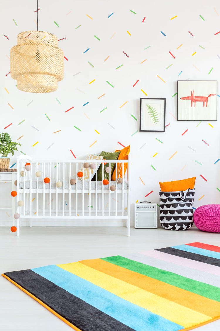 confetti wall paint and baby crib