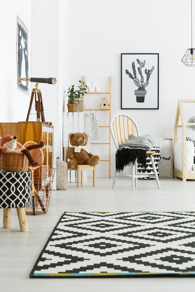 kid playroom with teddy bear