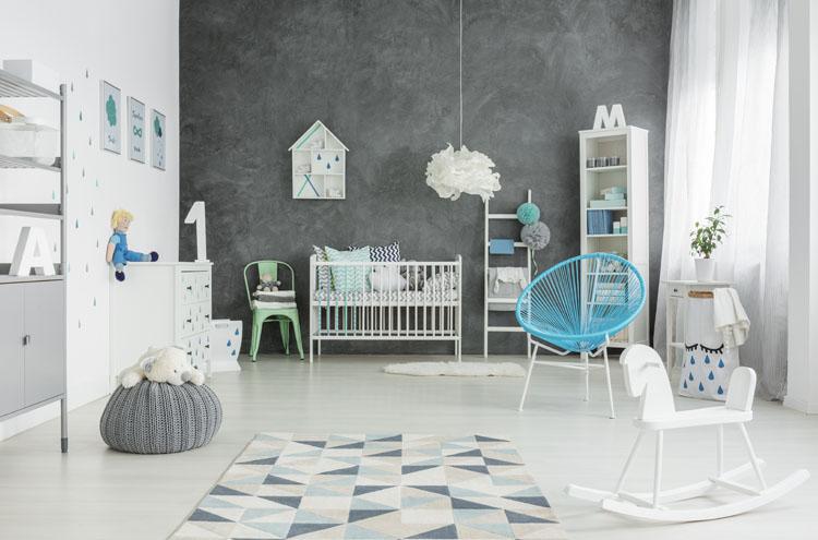 gray and blue playroom