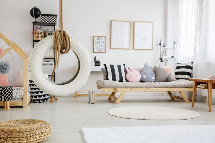 playroom with tire swing