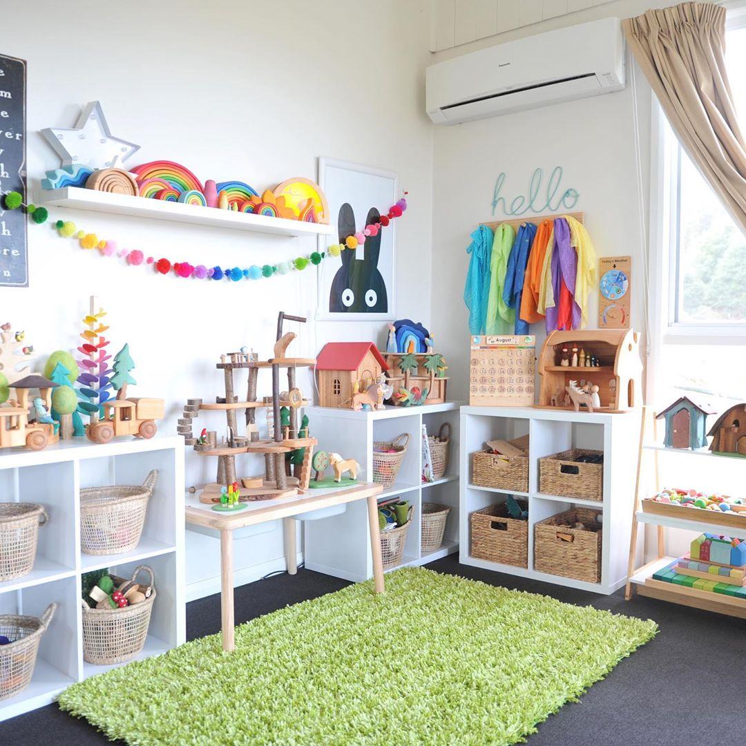 green grass carpet in playroom