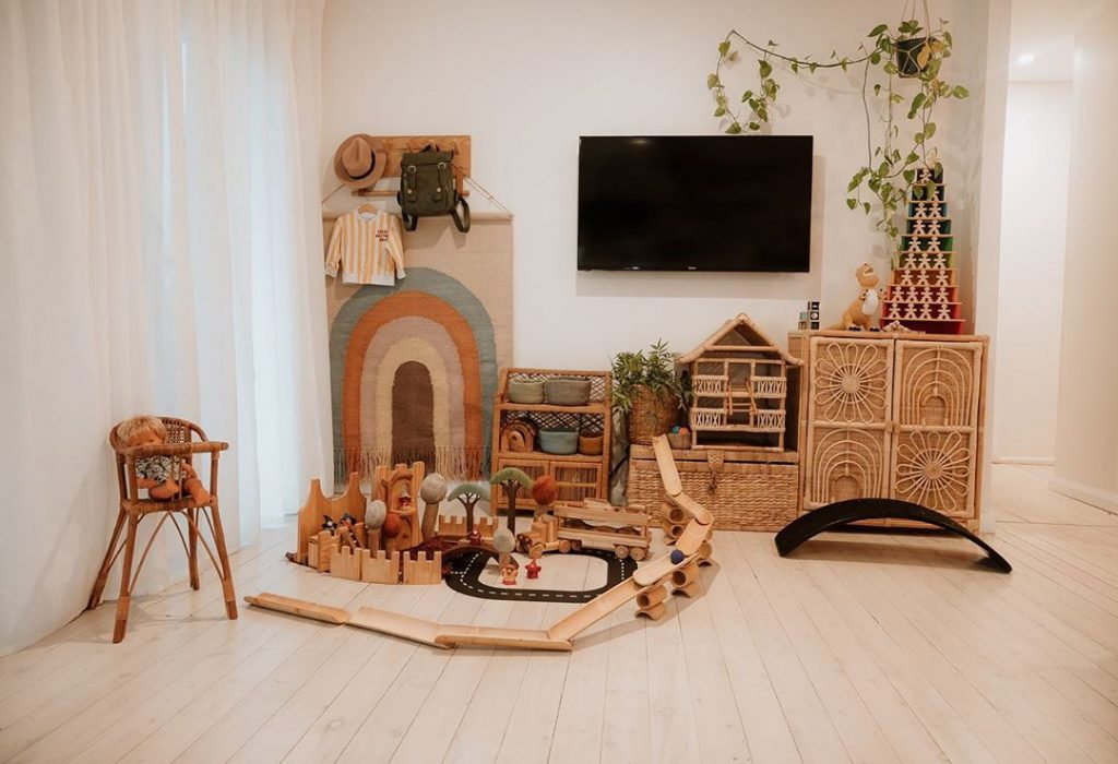 simple wooden storage and toys