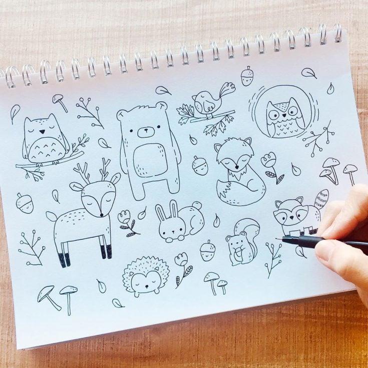 woodland animal doodles