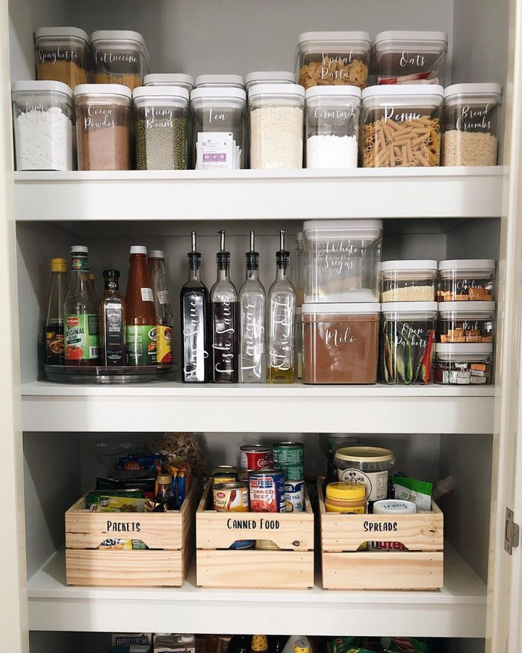 pantry organization with wood boxes