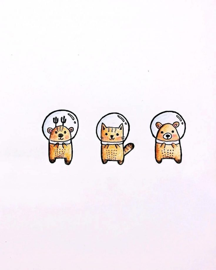 bear, deer, and cat