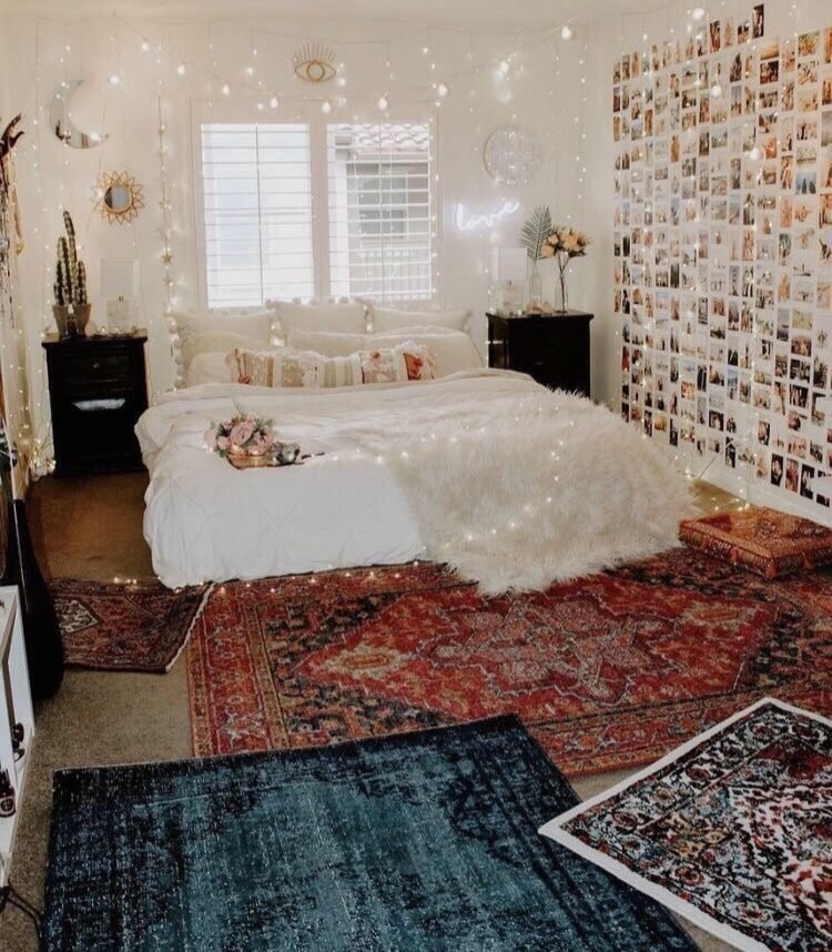 bedroom with a polaroid wall