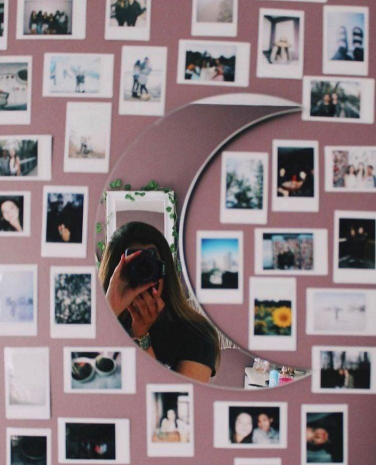 polaroid wall decor  with moon mirror