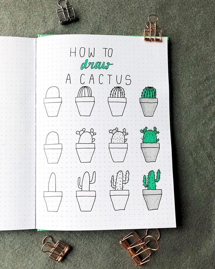 draw cactus tutorial