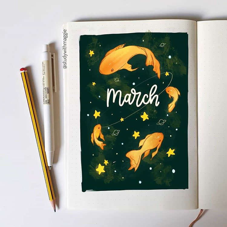 gold fish and stars