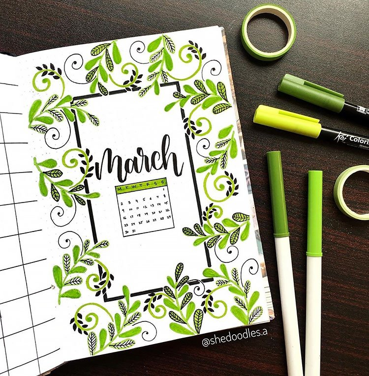 green leaves march cover page