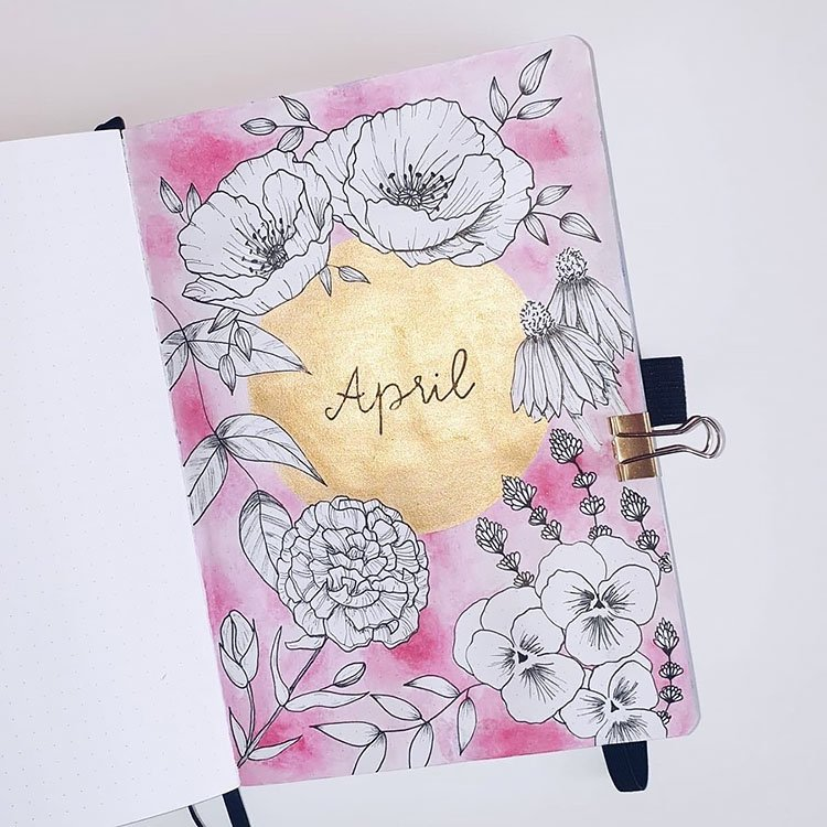 pink and gold april cover page with flowers