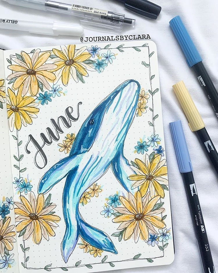 june whale and flowers cover page