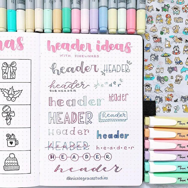 colorful headers