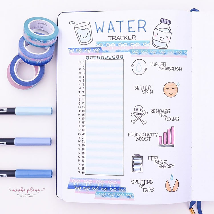 water tracker with doodles