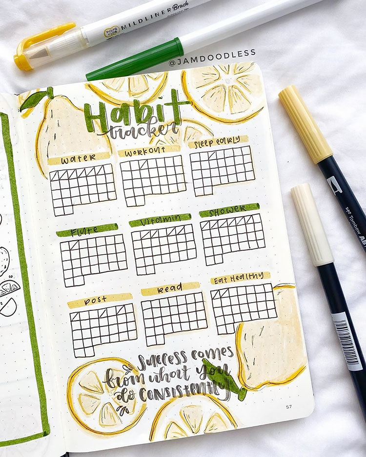 habit tracker with pear drawings