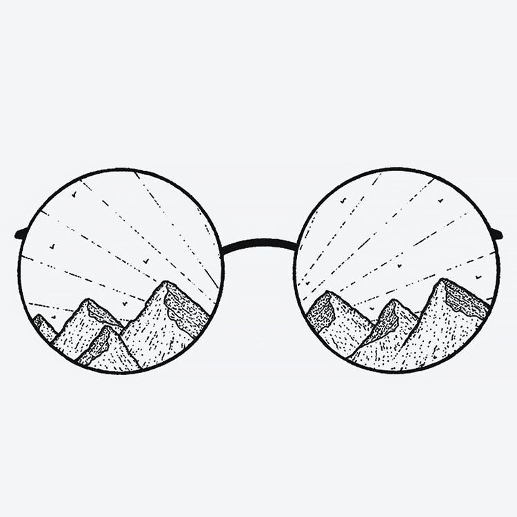 mountains in glasses