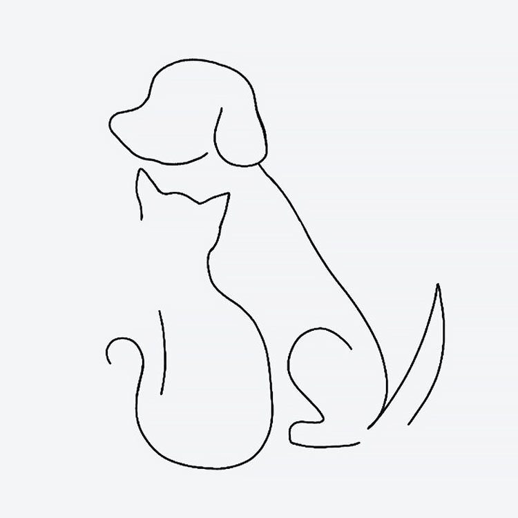 cat dog easy drawing