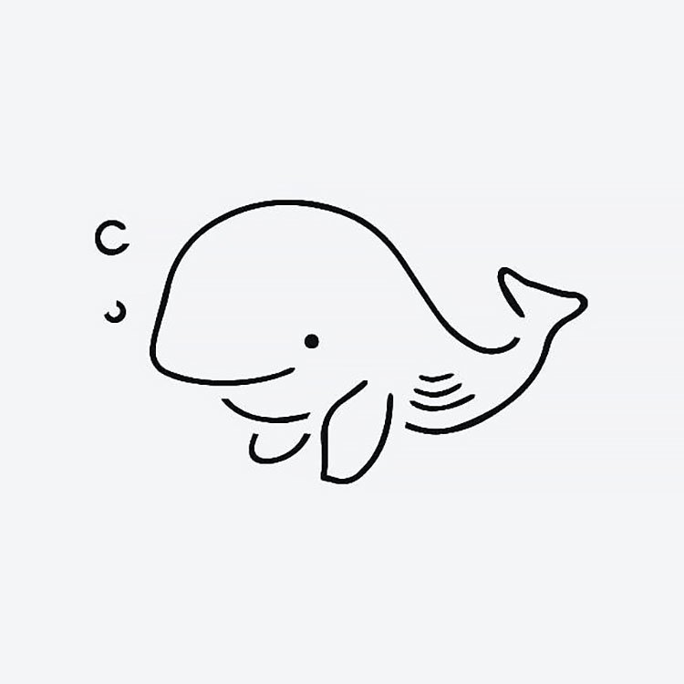 whale with bubbles drawing