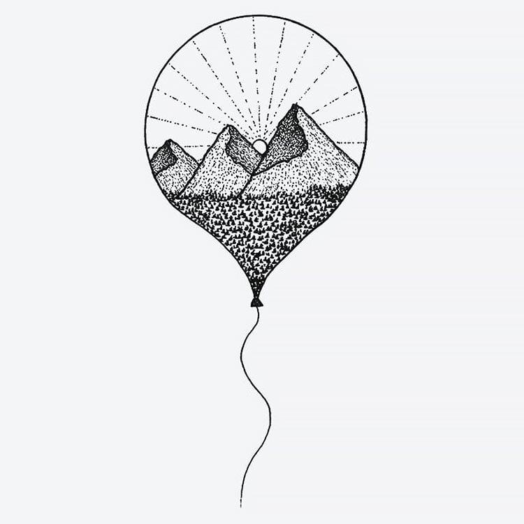 mountains in balloon