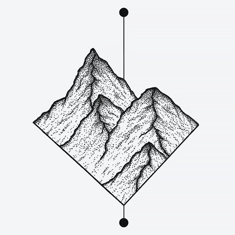 mountains in half diamond drawing