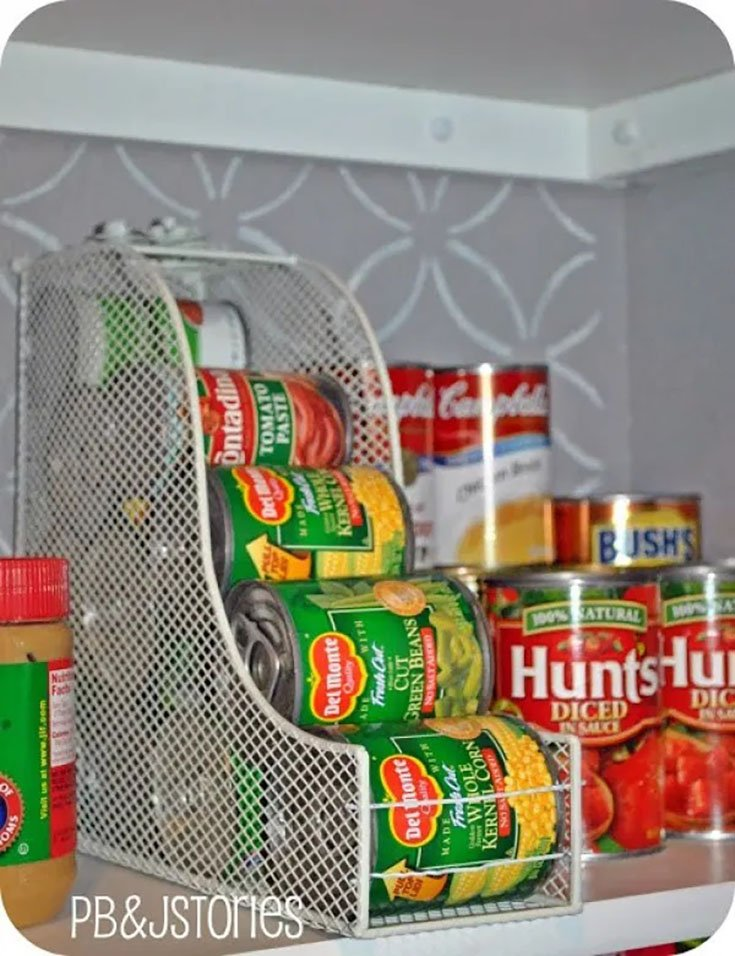 organize cans in pantry