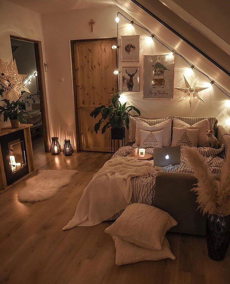 cozy winter bedroom with candles lit