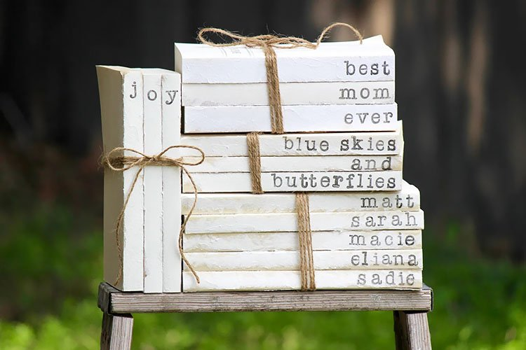 Hand Stamped Book Stacks