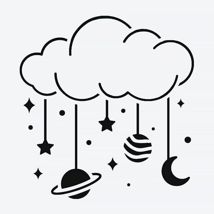 cloud with planets