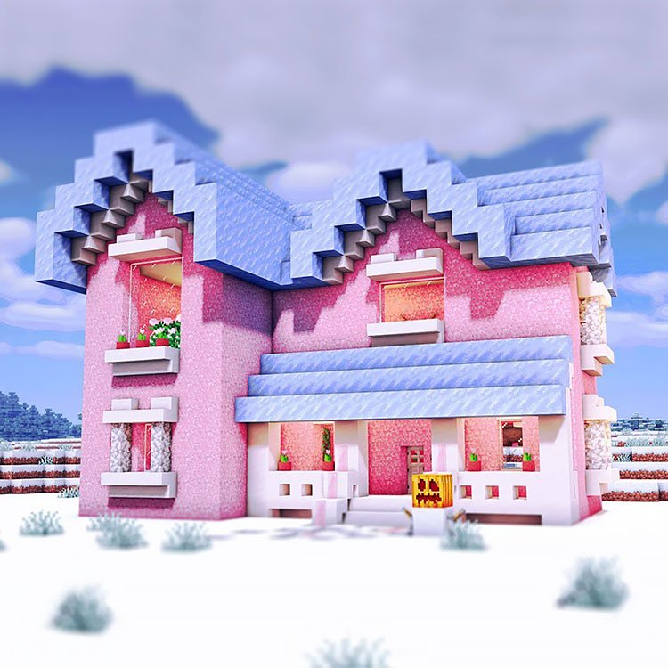 Soft Pastel Pink House