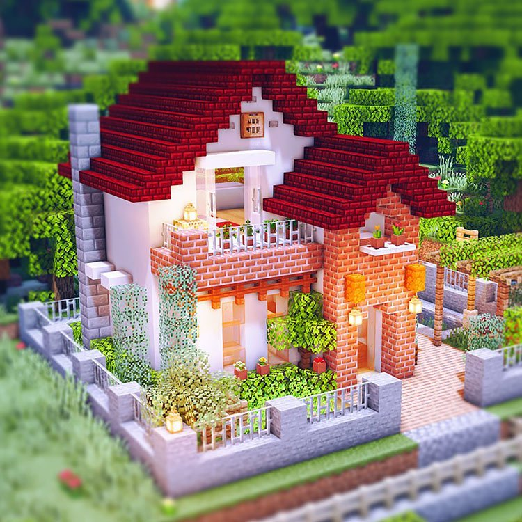 Red Roof House with Small Garden minecraft house