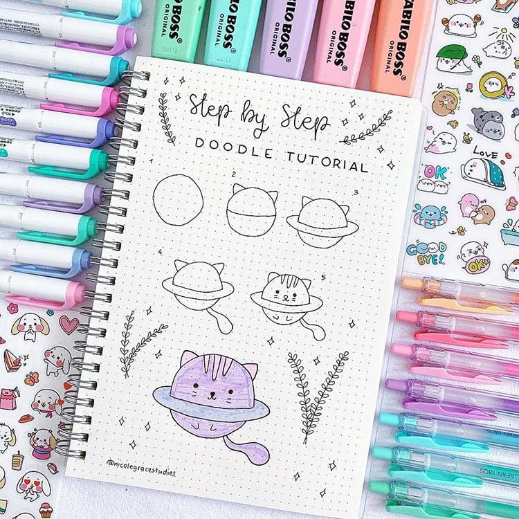 cat planet doodle