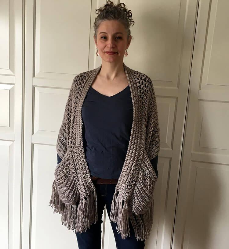 Boho Crochet Shawl with Fringe