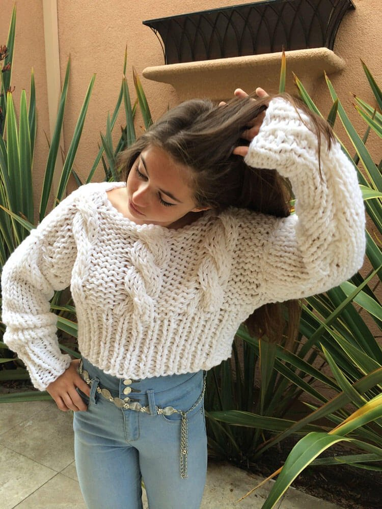Hand Knitted Cropped Cable Sweater
