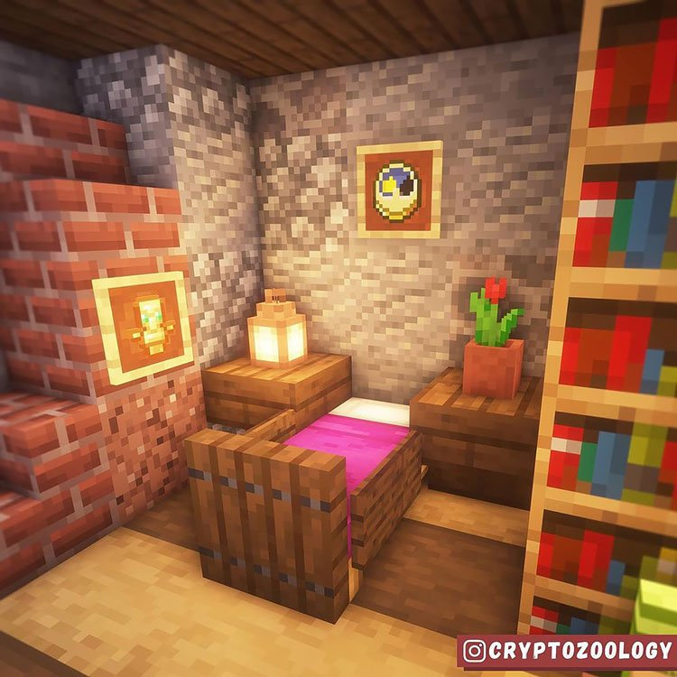 Download Minecraft Bedroom Wooden Ideas Gif