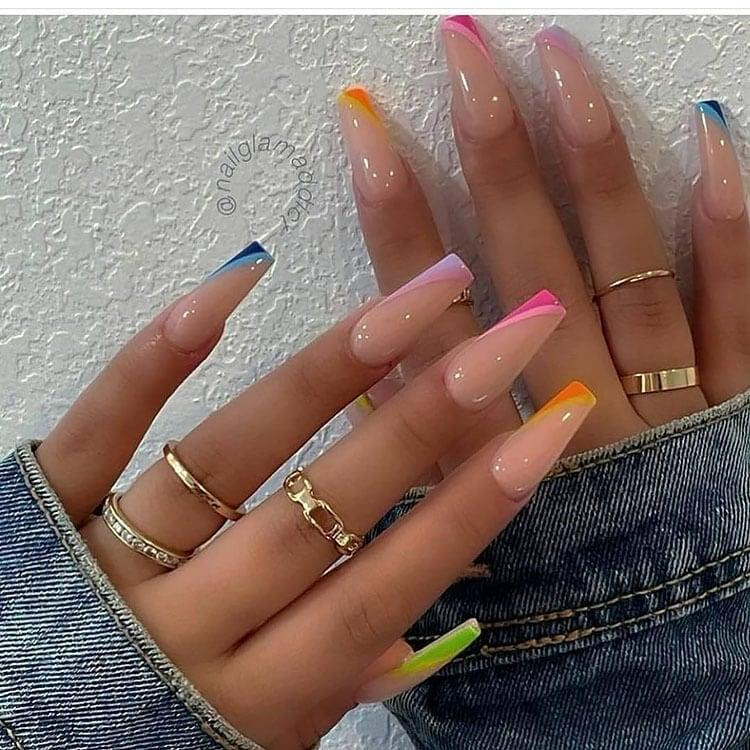 neon glossy nails