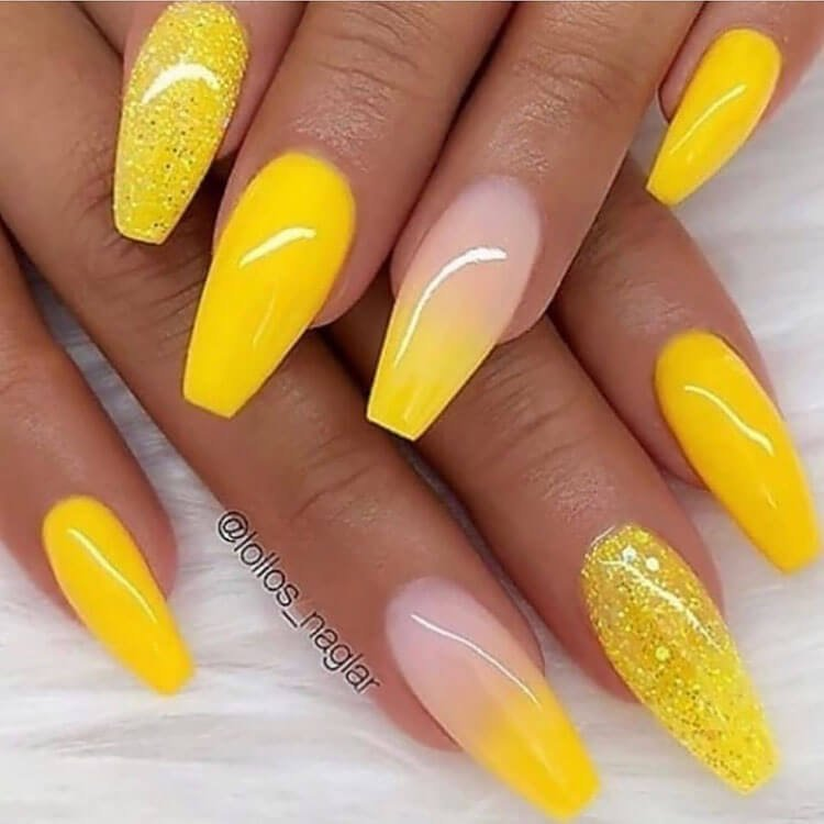 acrylic yellow nails