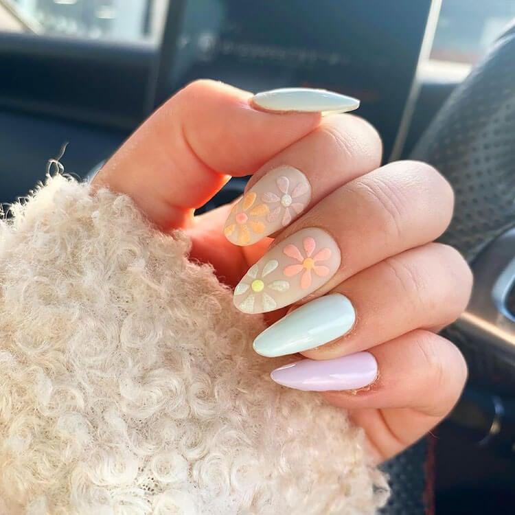pastel flower nails