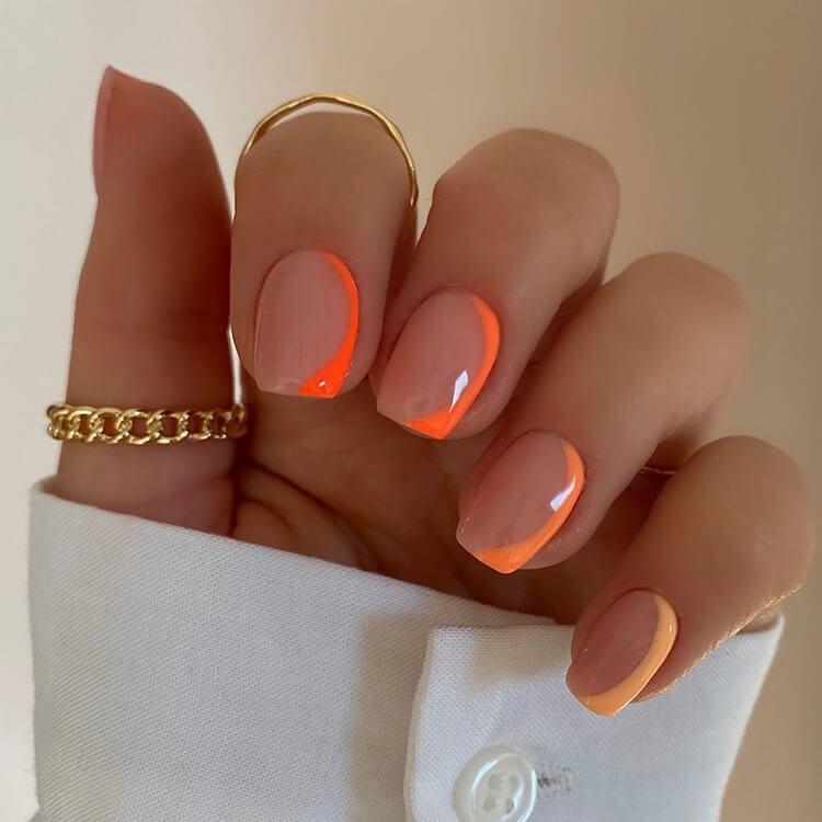 neon orange nails