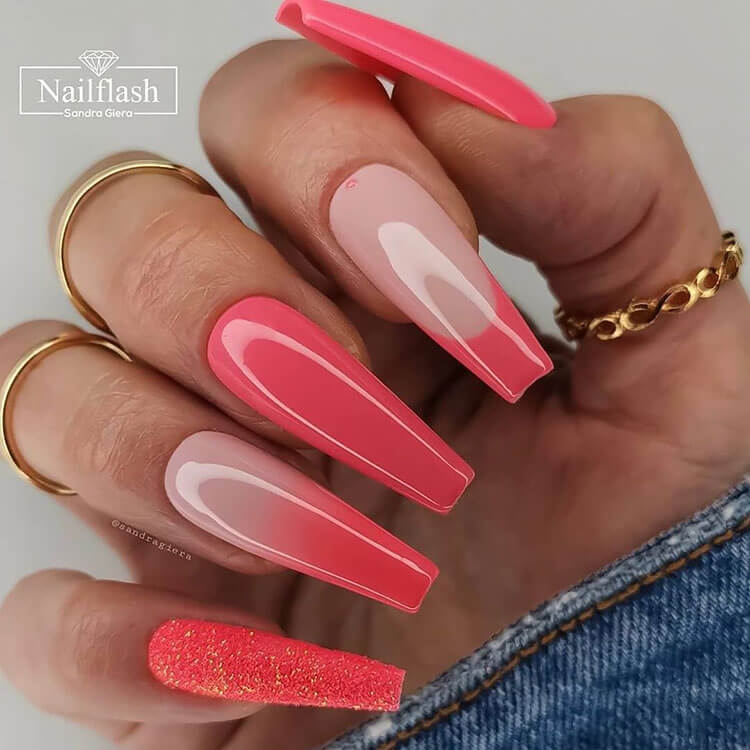 pink ombre long nails