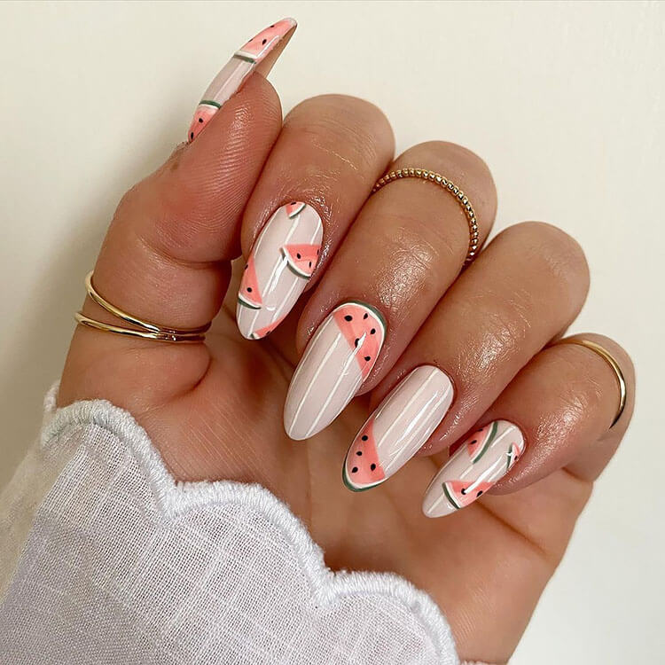 watermelon spring nails