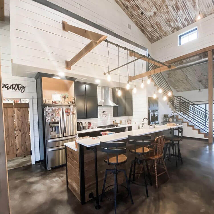 kitchen with hanging lights