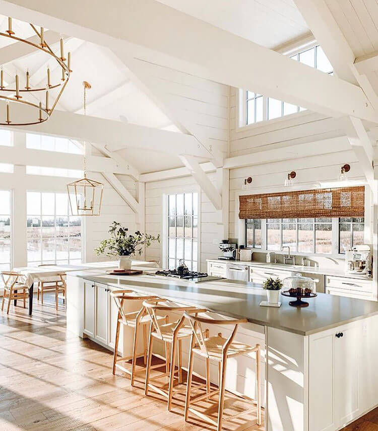 white kitchen with a lot of windows
