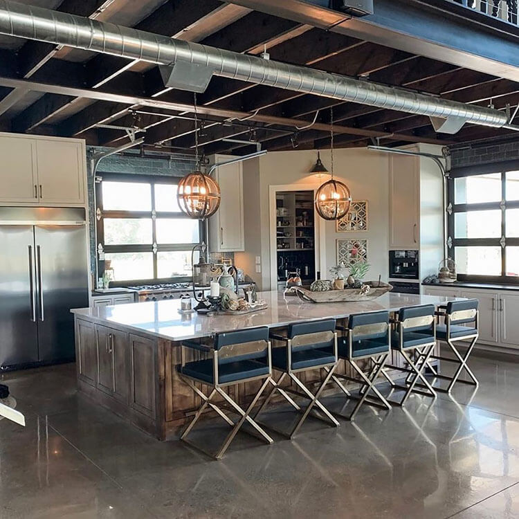 open kitchen with five chairs